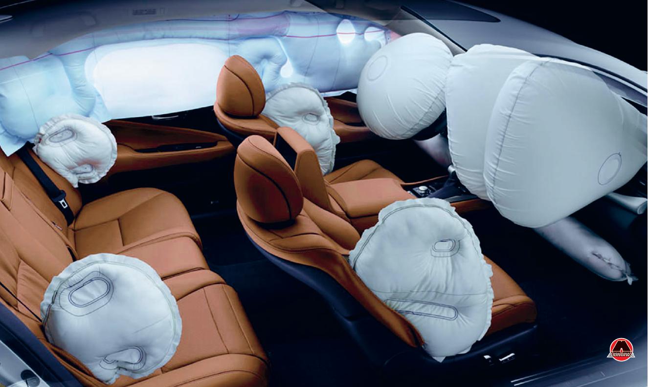 Пример расположения подушек безопасности в автомобиле