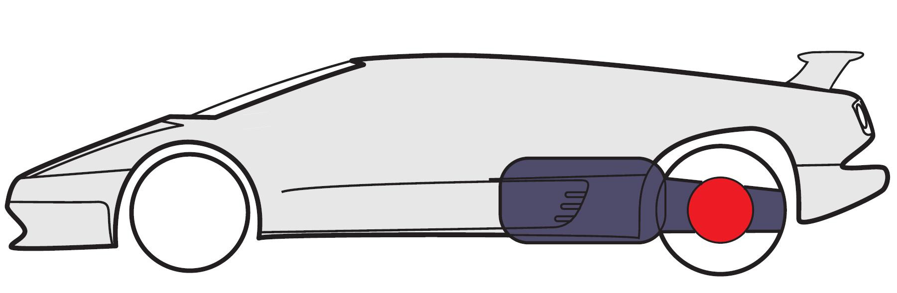 Подовжнє розташування двигуна перед задньою віссю з приводом на задні колеса