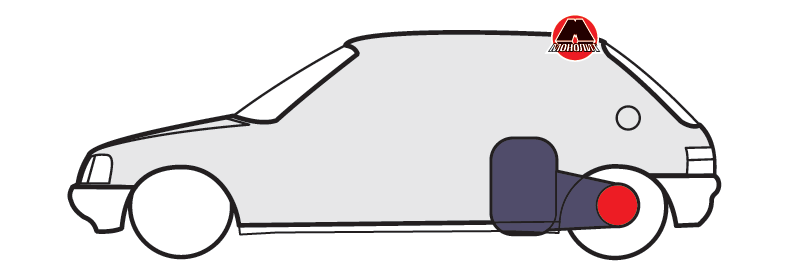 Поперечне розташування двигуна перед задньою віссю з приводом на задні колеса