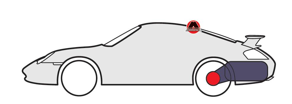 Продольное расположение двигателя за задней осью с приводом на задние колеса