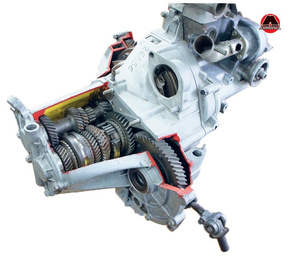 Розріз двовалової механічної коробки передач