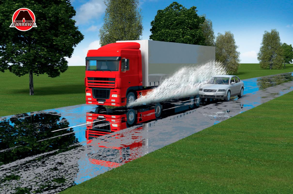 Обгон грузовика в дождь