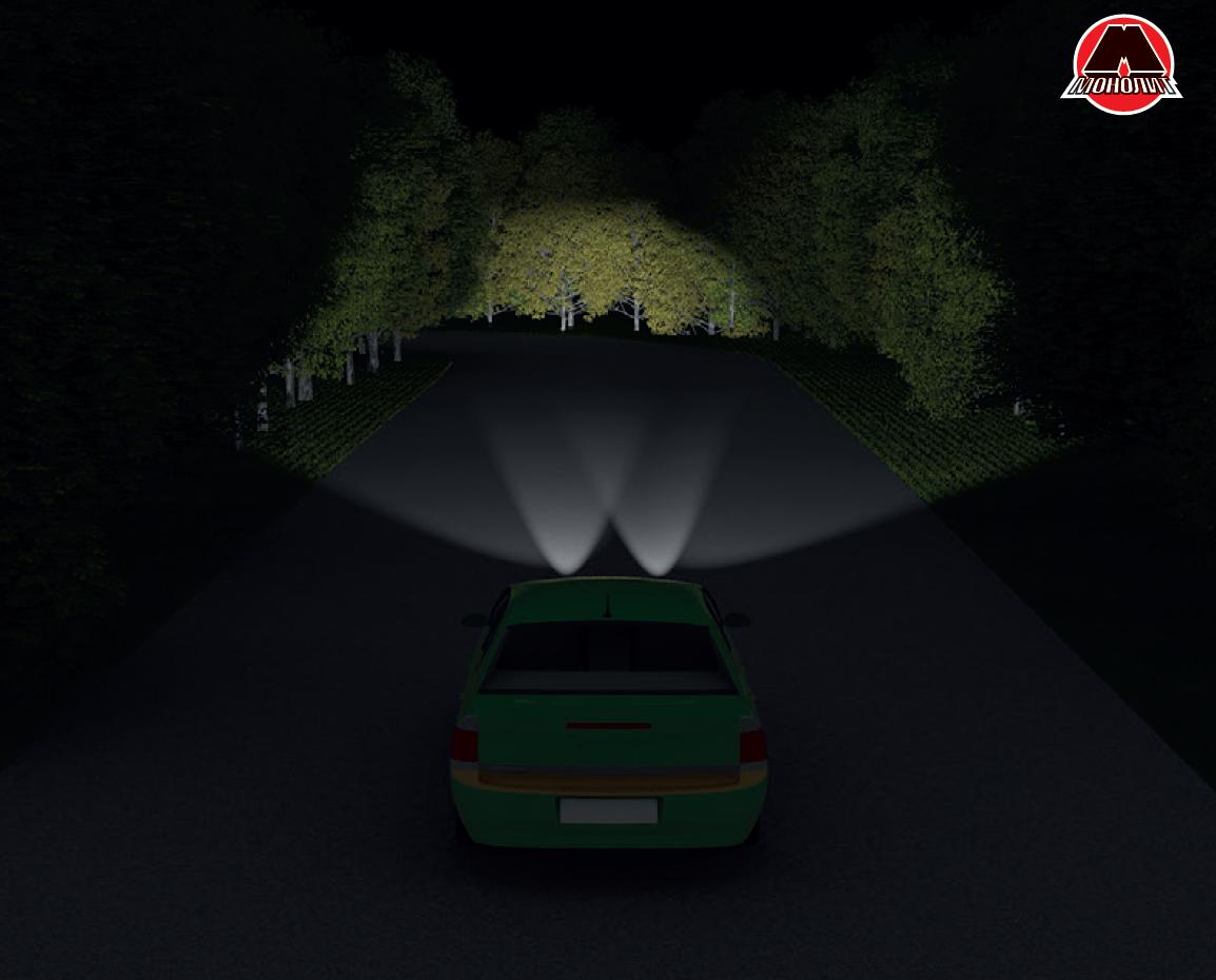 Обгон автомобиля в темное время суток